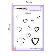 Cartela Clear Stamp Coração 01 CSC01